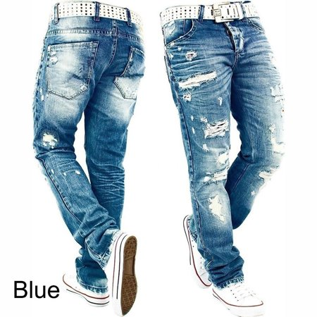 - Men's Ripped Skinny Distressed Destroyed Slim Fit Stretch Biker Jeans Pants With Holes