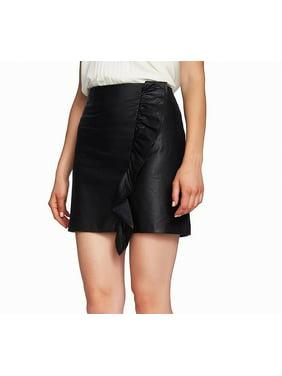 Women's Skirt Rich Mini Faux-Leather Ruffled 2