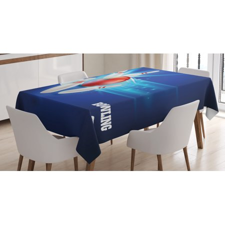 Ball Table Decorations (Bowling Party Decorations Tablecloth, Bowling Strike Red Ball and Classical Pins Vivid Composition, Rectangular Table Cover for Dining Room Kitchen, 52 X 70 Inches, Red Aqua Blue, by)