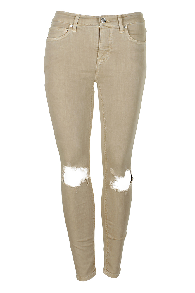 Free People Khaki Cotton Ripped Skinny Jeans 24