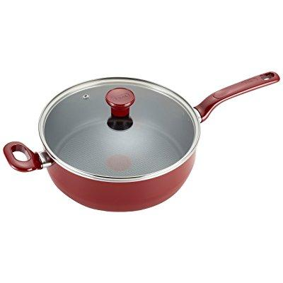 t-fal c5143364 excite nonstick thermo-spot dishwasher safe oven safe pfoa free jumbo cooker cookware, 4.5-quart, red