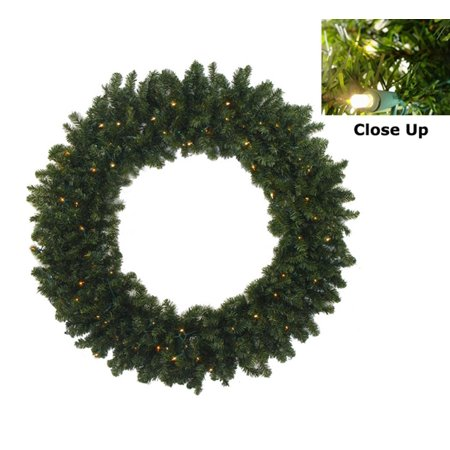 "36"" Pre-Lit Battery Operated Canadian Pine Christmas Wreath - Clear LED Lights"