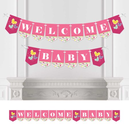Playful Butterfly and Flowers - Baby Shower Bunting Banner - Pink Party Decorations - Welcome Baby - Banner Flowers