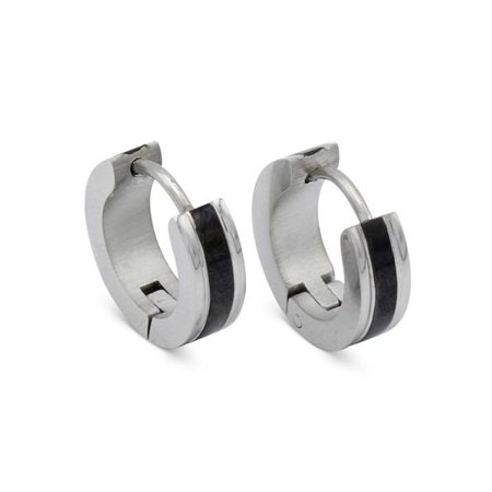 d371f6ea3 BéBérlini - BEBERLINI Huggies Hoop Earrings Fashion Jewelry Stainless Steel  Fancy Silver Black Stripes Design Earring Men Women - Walmart.com
