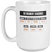 Living the Dream on a Beach. Funny Retirement Coffee & Tea Gift Mug (15oz)