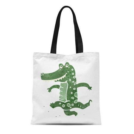 ASHLEIGH Canvas Tote Bag Watercolor Alligator Retro Cartoon Dancing Crocodile Colorful Zoo Reusable Shoulder Grocery Shopping Bags Handbag