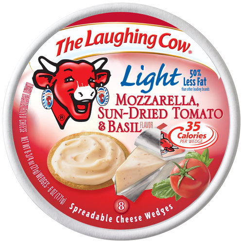 The Laughing Cow Light Mozzarella Sun Dried Tomato & Basil Spreadable Cheese Wedges, 0.75 oz, 8 count