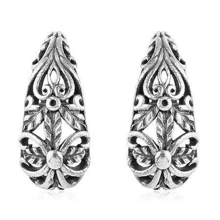 Hoops Hoop Earrings 925 Sterling Silver Filigree Oxidized Handmade Jewelry for Women Gift 4.22 g Sale Handmade Earrings