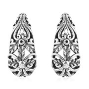 Hoops Hoop Earrings 925 Sterling Silver Filigree Oxidized Handmade Jewelry for Women Gift 4.22 g