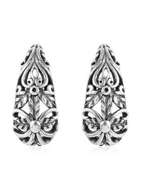 Hoops Hoop Earrings 925 Sterling Silver Filigree Oxidized Handmade Jewelry for Women Gift 4.22 g