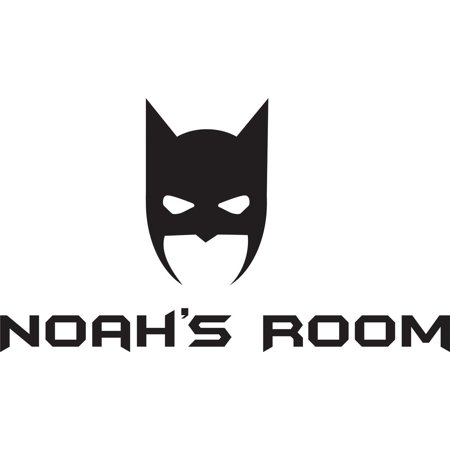 Personalized Name Vinyl Decal Sticker Custom Initial Wall Art Personalization Decor Childrens Boy Bedroom Batman Cartoon Mask 12 Inches X 18 Inches