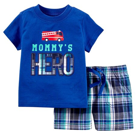 Carters Infant Boys 2-Piece Blue Fire Truck T-Shirt & Plaid Short - Boys Carters Fire Truck