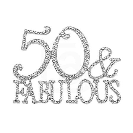 50 & Fabulous, Birthday Cake Topper, Crystal Rhinestones on Silver Metal, Party Decorations, Favors (50 Cake)