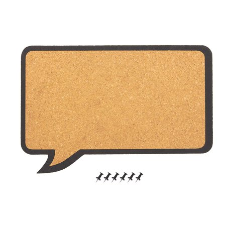 Cork Bulletin Board - Decorative Speech Bubble Natural Cork Board - Includes 6 Push Pins - Perfect for Pinning Memos and Reminders, 17.5 x 11.5 x 0.3 inches
