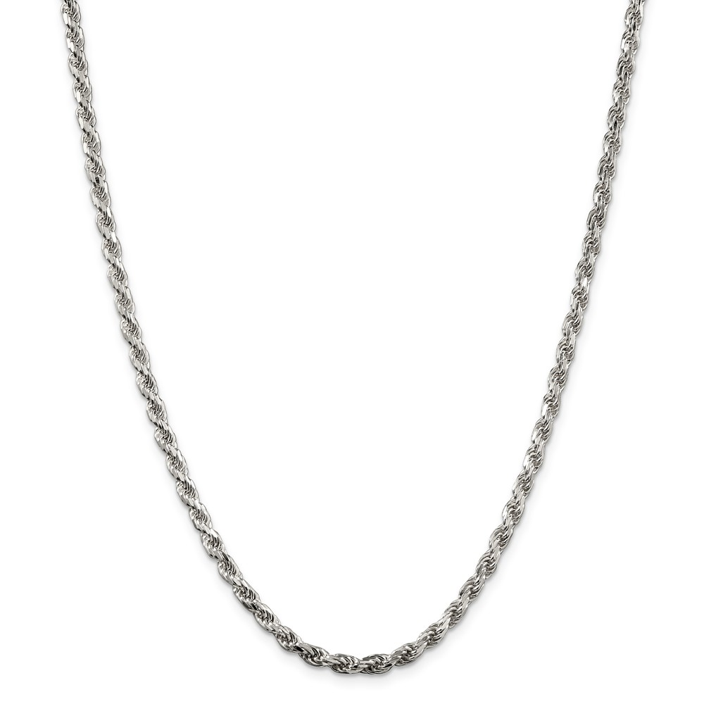 Sterling Silver 18in 3.5mm D/C Rope Necklace Chain