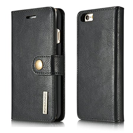 iPhone 8 / iPhone 7 Case, Mignova Genuine Leather Magnetic Closure Wallet Case Cover with kick stand, ID & Credit Card Pockets for Apple iPhone 8 / Apple iPhone 7(Black) ()