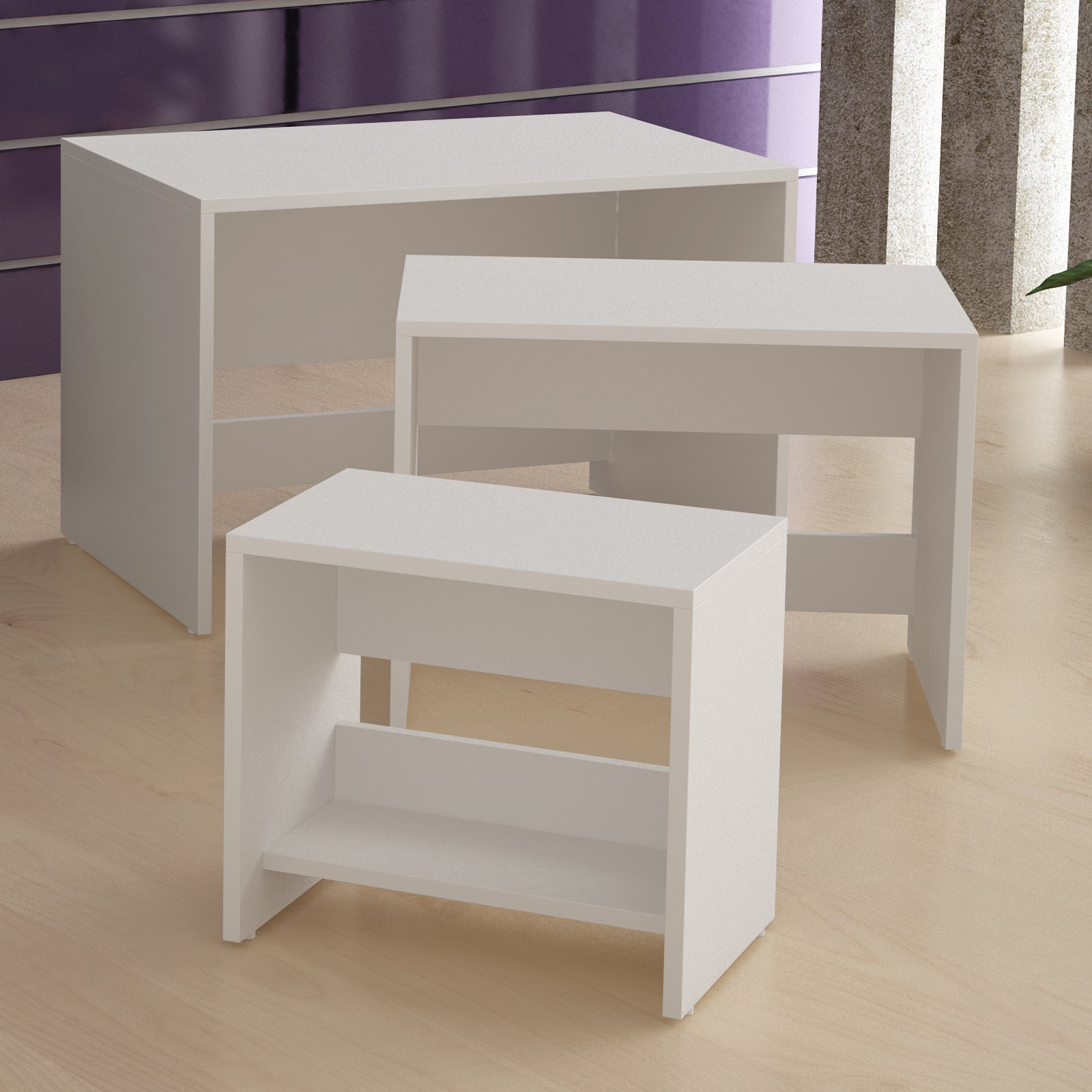 Image of Accenuations by Manhattan Comfort Saffle Side Nesting Occasional Tables 2.0 - White