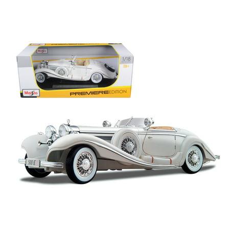 1936 Mercedes 500K Special Roadster White 1/18 Diecast Model Car by Maisto - image 1 de 3