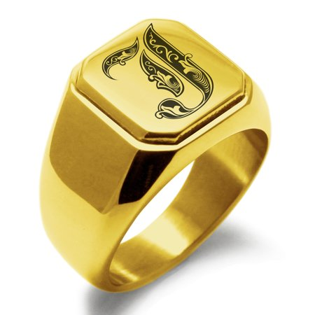 Stainless Steel Letter J Initial Royal Monogram Engraved Engraved Square Flat Top Biker Style Polished Signet (Initial Monogram Ring)