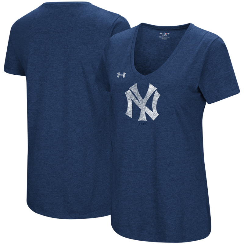 New York Yankees Under Armour Women's Cooperstown Collection Logo Performance Tri-Blend V-Neck T-Shirt - Heathered Navy