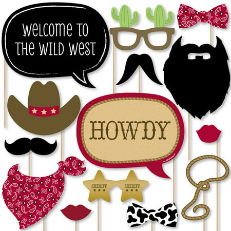 Little Cowboy - Western Photo Booth Props Kit - 20 Count - Western Photo Booth