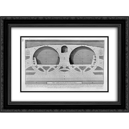 Giovanni Battista Piranesi 2x Matted 24x20 Black Ornate Framed Art Print 'The Roman antiquities, t. 4, Plate XIX. Plan, elevation and details of construction of the Bridge of Four (Details Plan)