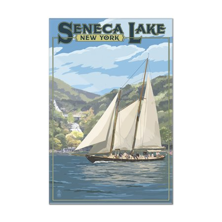 Seneca Lake, New York - Schooner Sailboat on Lake - Lantern Press Poster (8x12 Acrylic Wall Art Gallery Quality)