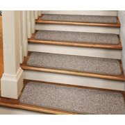 Set of 12 Adhesive Carpet Stair Treads - Pebble Beige - 8 In. X 23.5 In. - Several Other Sizes to Choose From