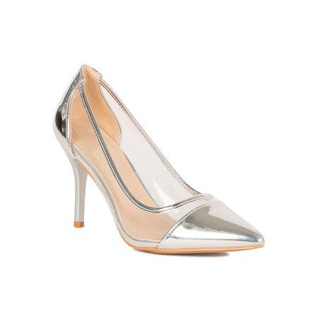 Women Cap Pointy Toe Transparent PVC Stiletto Heel Pump 18778