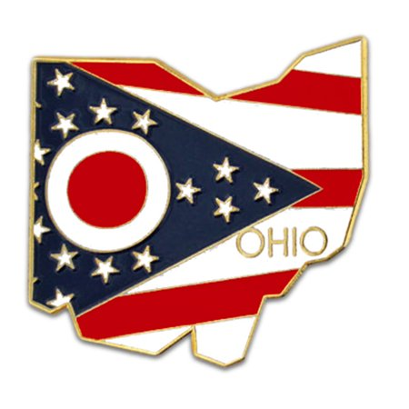 State Design Lapel Pin - PinMart's State Shape of Ohio  and Ohio Flag Lapel Pin