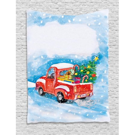 Christmas Wall Hanging Tapestry, Vintage Red Truck in Snowy Winter Scene with Xmas Tree and Gifts Candy Cane Kids, Bedroom Living Room Dorm, Blue White Red, by (Scene Wall Tapestry)