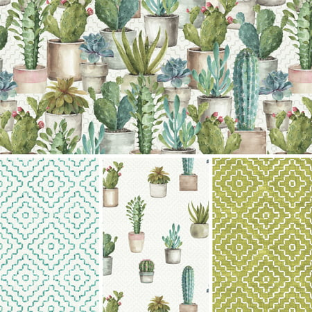 David Textiles Cotton Fabric Cactus Verde Collection 44 Inches ()