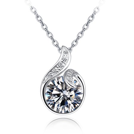 Emma Manor 14k White Gold Plated Silver 3ct CZ Diamond Love Conch Pendant Necklace For Women
