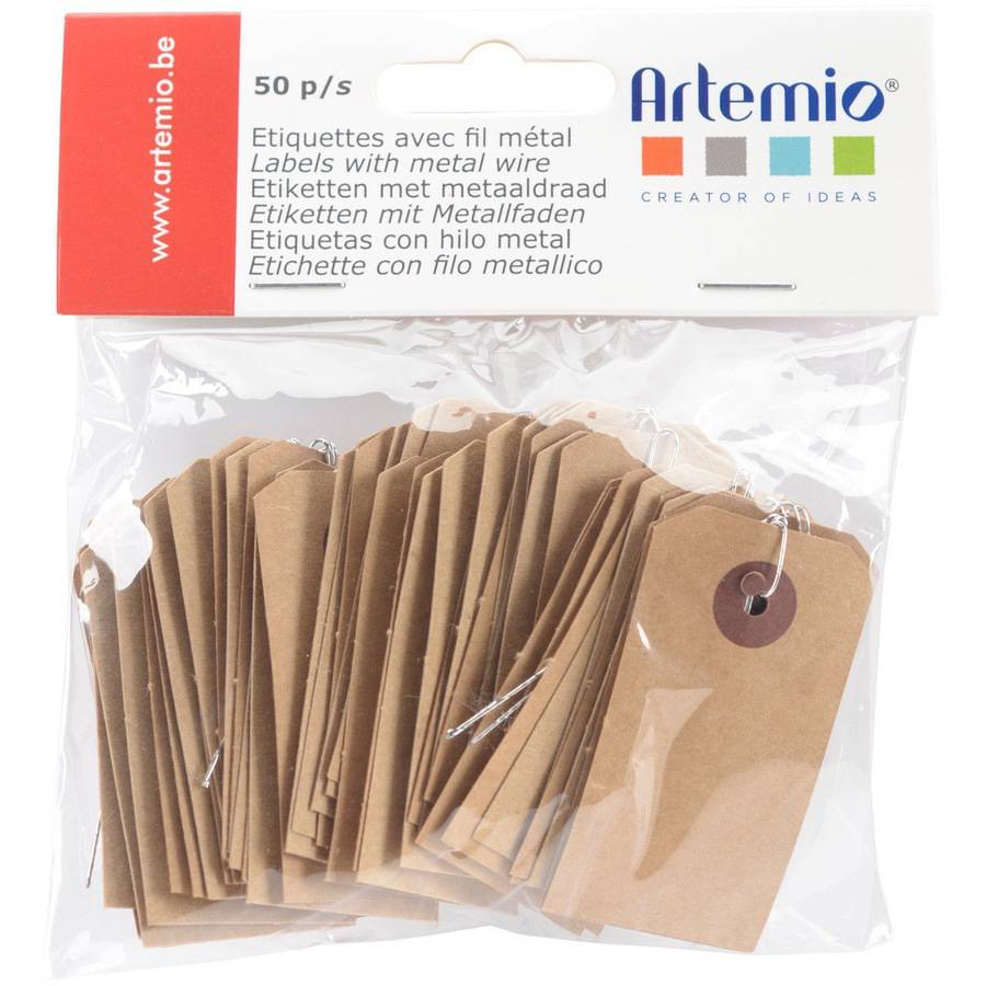 "Artemio Kraft Tags with Wire, 1.2"" x 2.2"", 50pk, Brown"