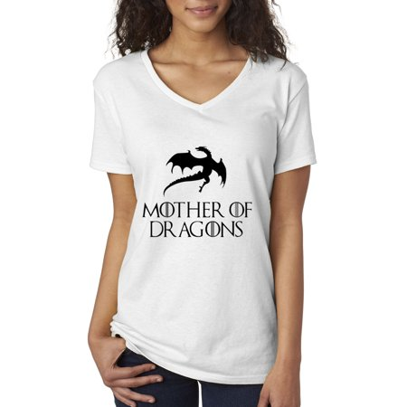 New Way 151 - Women's V-Neck T-Shirt Mother Of Dragons Targaryen Game Of (Game Of Thrones Mother Of Dragons Ladies Wallet)