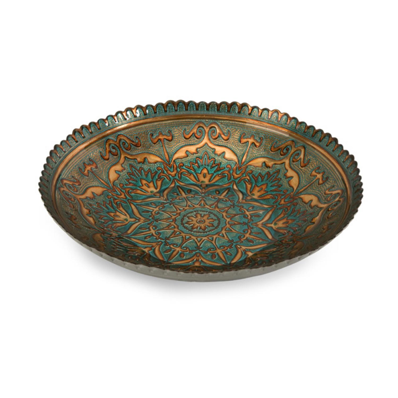 "17"" Decorative Sunburst Copper Look Food-Safe Glass Serving Dish"