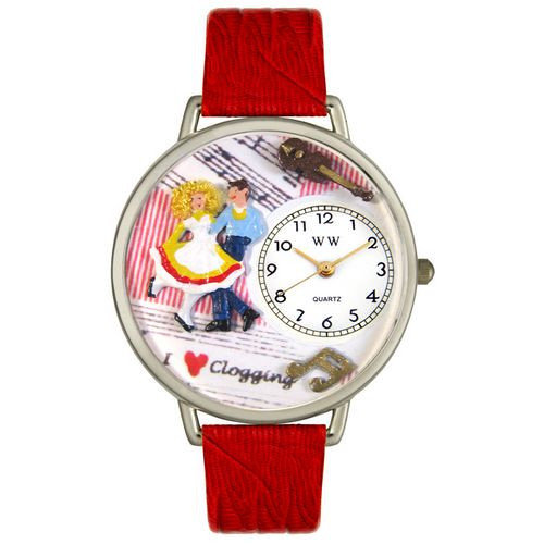 Whimsical Watches Unisex Clogging Red Leather and Silvertone Watch in Silver