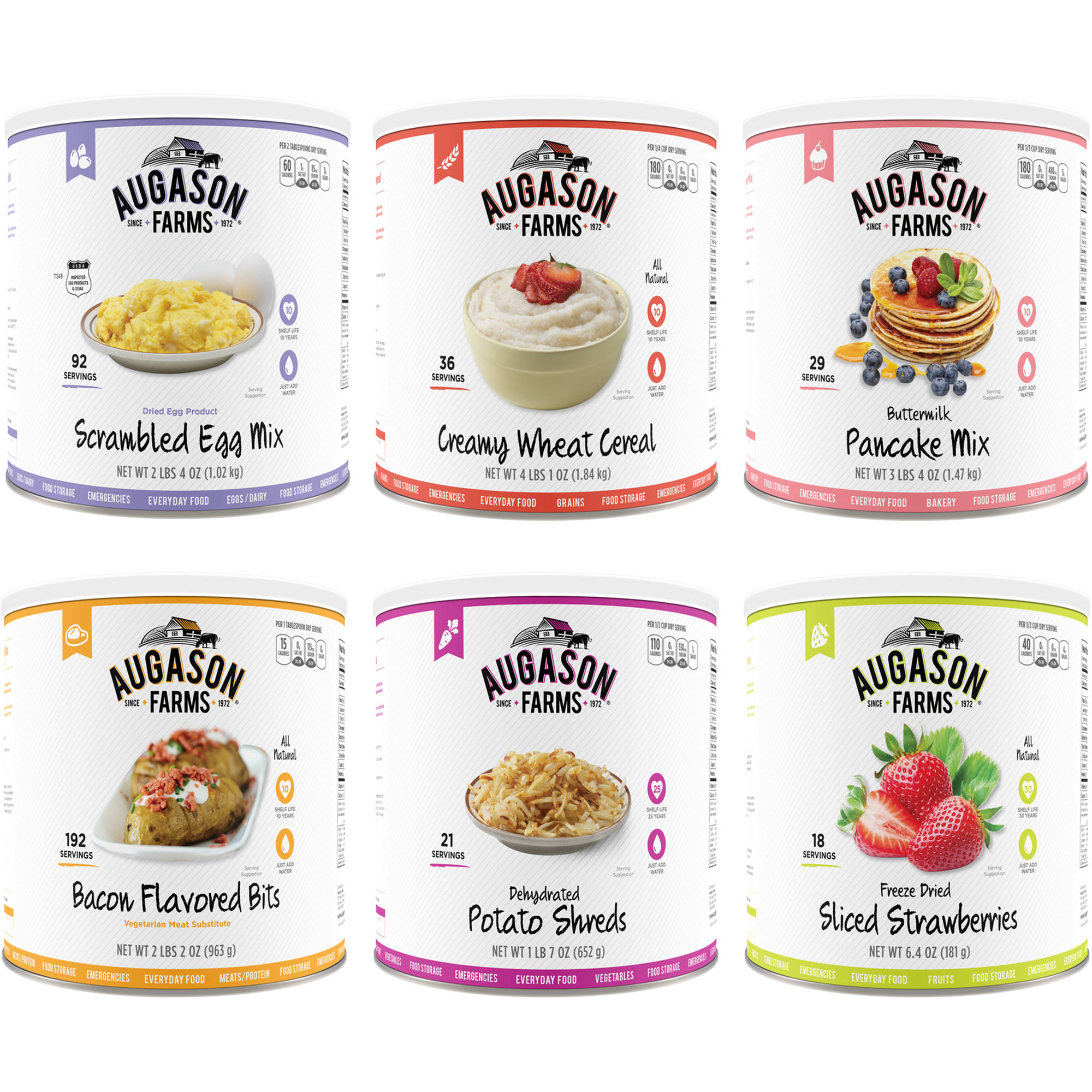 Augason Farms Emergency Food Breakfast Mix Variety Pack, Set of 6