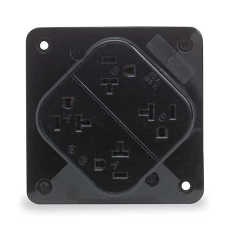 HUBBELL WIRING DEVICE-KELLEMS Receptacle,Quad,20A,5-20R,125V,Black on