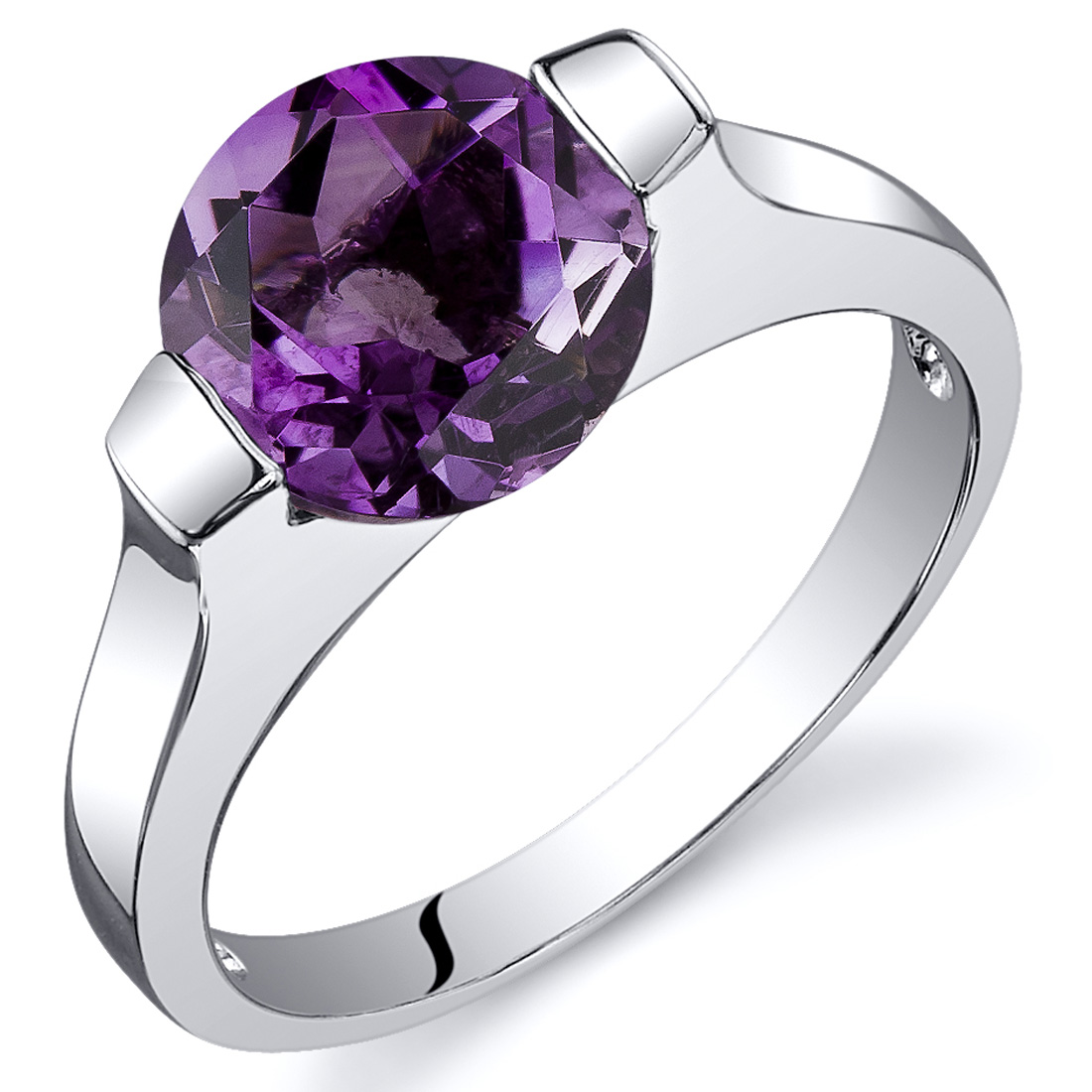 Peora 1.75 Ct Amethyst Engagement Ring in Rhodium-Plated Sterling Silver