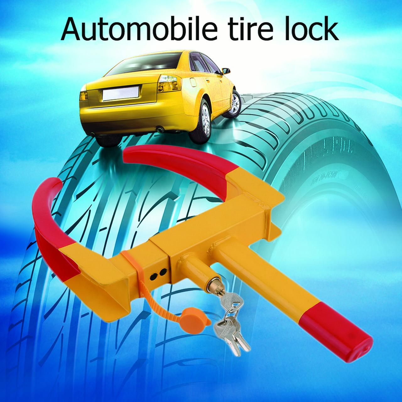 Lock Hardware New Clamp Boot Tire Claw Trailer Truck Anti-Theft Towing Auto Wheel Lock Red& Yellow