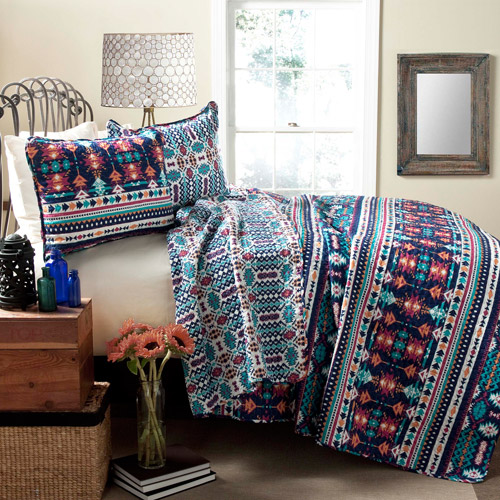 Southwest 3-Piece Quilt Set, Navy Turquoise by Generic