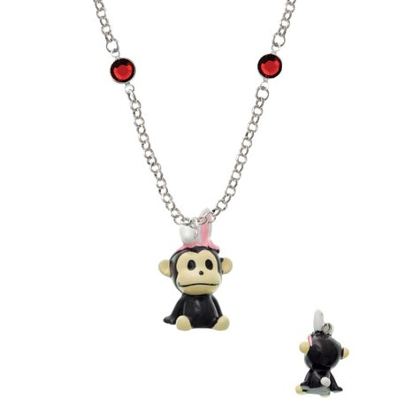 Resin Monkey with Bunny Ears Red Crystal Fiona Necklace - Red Bunny Ears