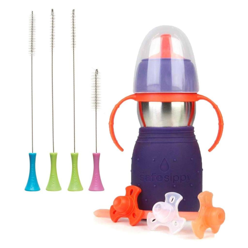 The Safe Sippy 2 2-in-1 Sippy to Straw Bottle with Munchkin Cleaning Brush Set, Purple