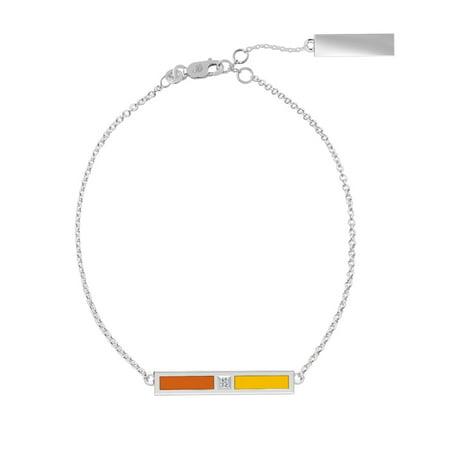 Buffalo State College Diamond Bar Bracelet In Dark Orange And Gold