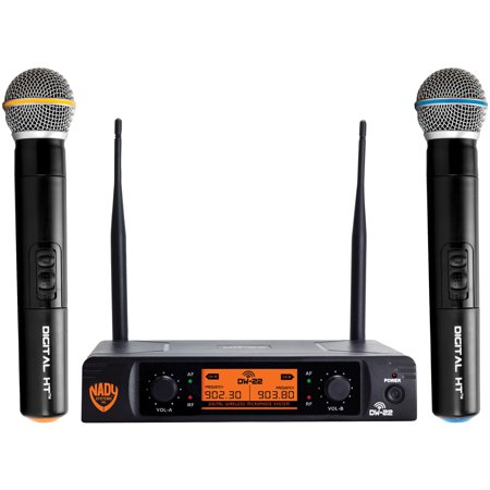 Nady DW-22-HT-ANY Dual-Transmitter Digital Wireless Microphone System (2 Digital HT Handheld Microphones) & UPG AA 50 - 2 Mic Wireless System