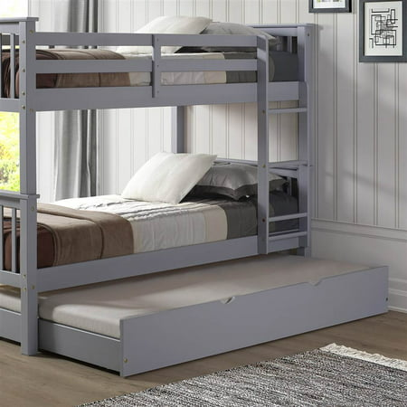 Walker Edison Solid Wood Twin Trundle Bed In Grey