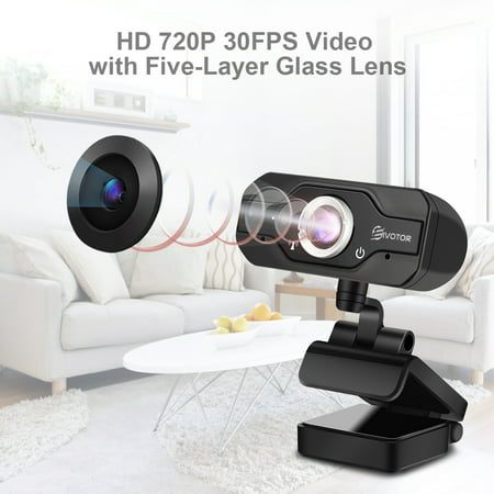 720P HD Webcam, EIVOTOR USB Mini Webcam Computer Camera with Built-in Microphone for Desktop Skype Twitch YouTube Computer PC 360-Degree (Best Hd Camera For Skype)