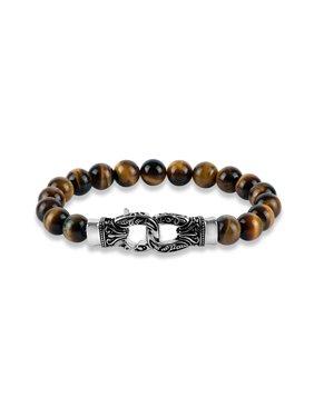 "Tiger's Eye Bead 316L Stainless Steel Ornate Clasp Bracelet, 9"""