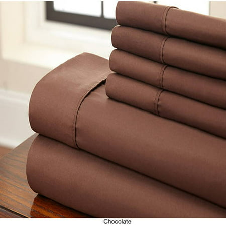 Solid Color Microfiber Full 6 Piece Sheets Set in Chocolate